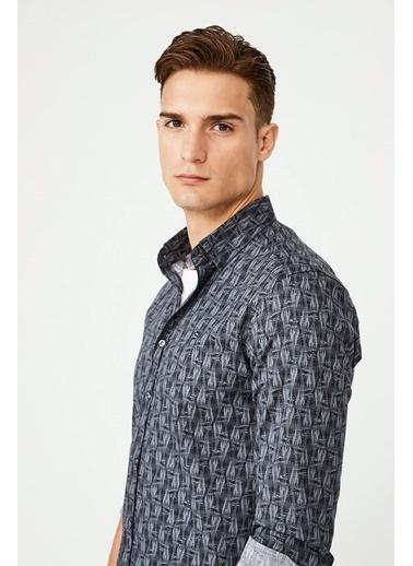 Avva Erkek  Baskılı Düğmeli Yaka Gömlek A02Y2294 Siyah
